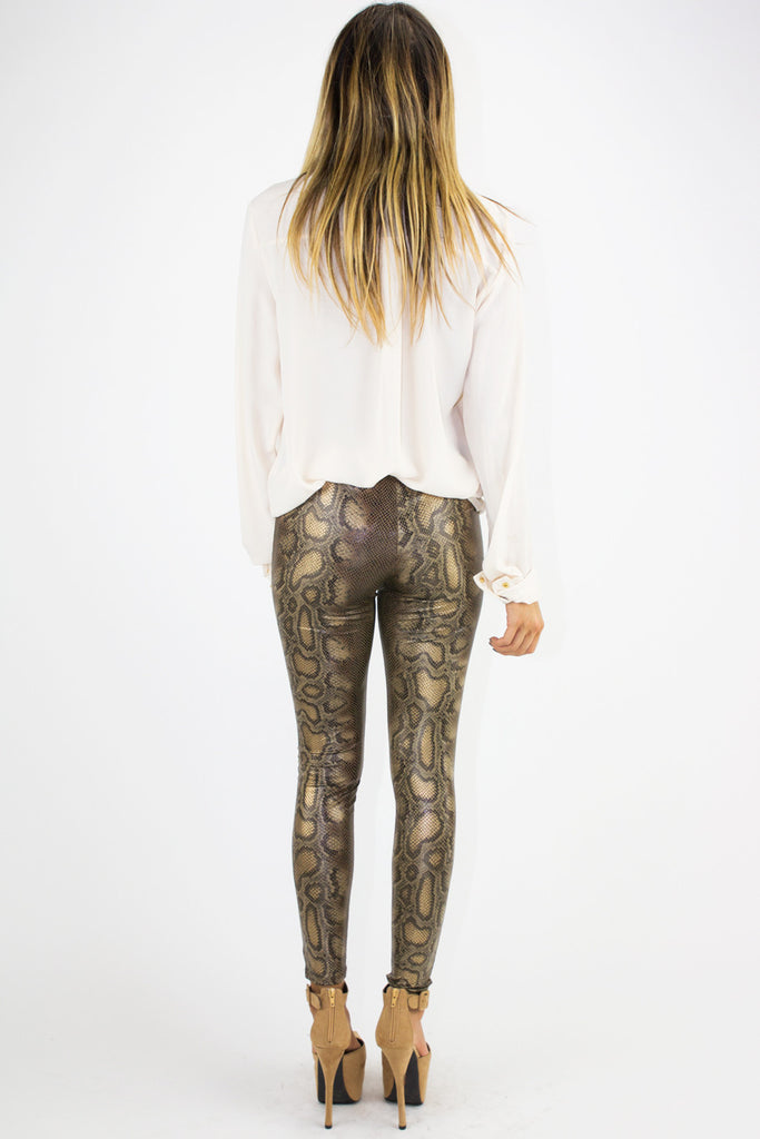 SNAKESKIN PRINT LEGGINGS