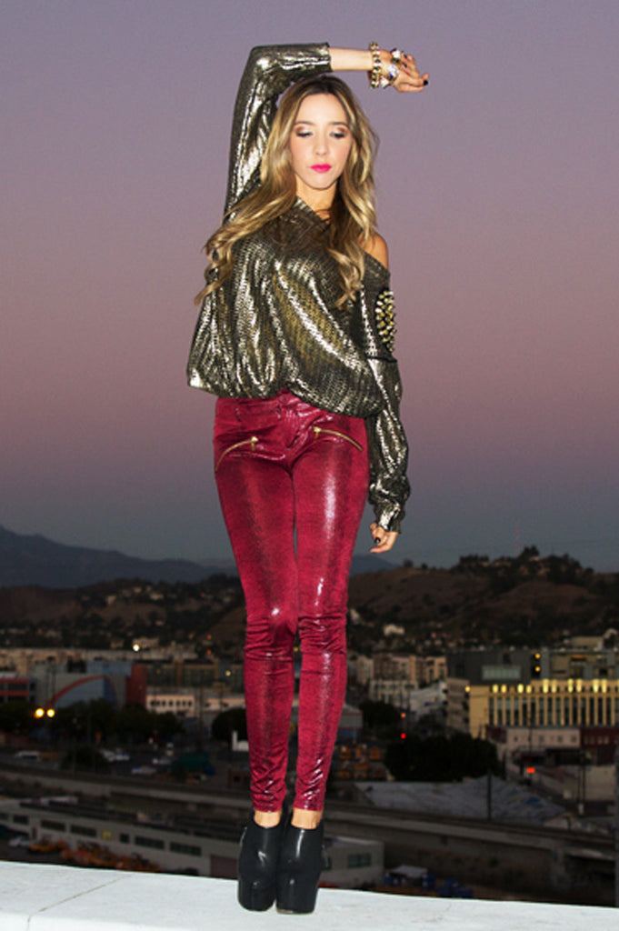 SNAKE PRINT SKINNIES WITH ZIPPERS - Maroon - Haute & Rebellious