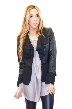 FAUX LEATHER JACKET WITH CHIFFON CONTRAST - Black - Haute & Rebellious