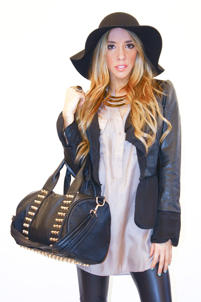 FAUX LEATHER JACKET WITH CHIFFON CONTRAST - Black