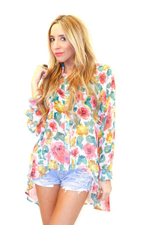 FLOWER CHIFFON BLOUSE - Multi - Haute & Rebellious