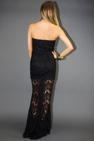 ANDREA ALL OVER LACE LONG DRESS - Black - Haute & Rebellious