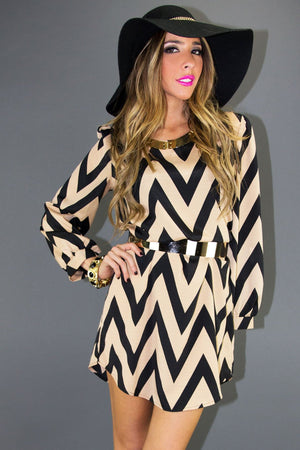CHEVRON PRINT DRESS - Haute & Rebellious