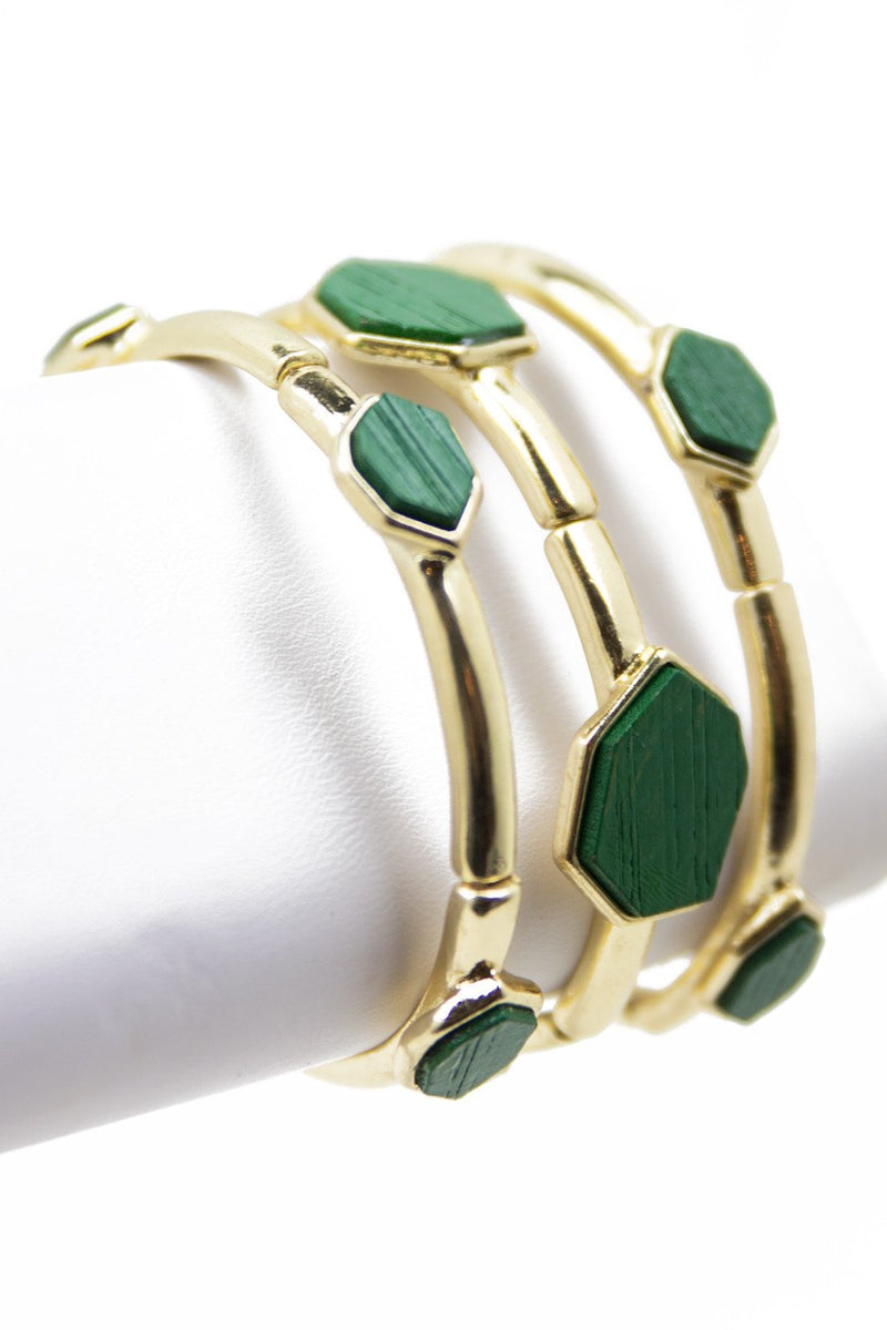 GREEN STONE BRACELET - Gold - Haute & Rebellious