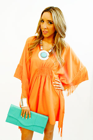 Haute & Rebellious ORANGE FRINGE TUNIC in [option2]