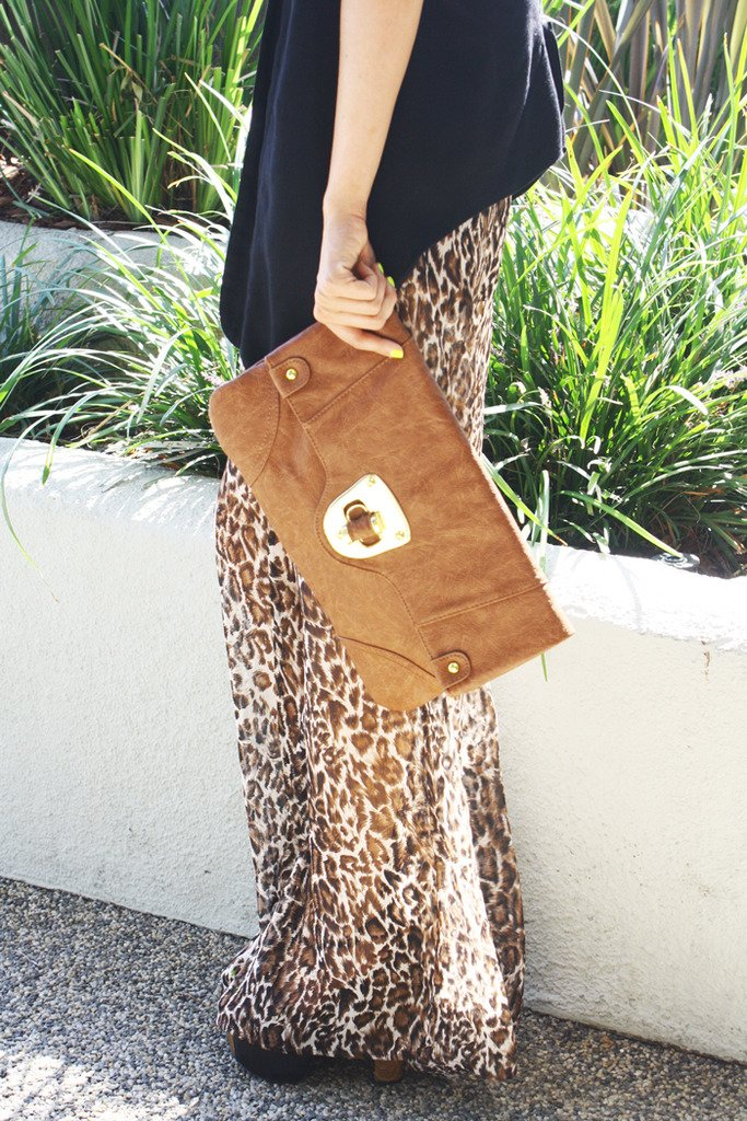 BROWN ENVELOPE CLUTCH WITH GOLD HARDWARE