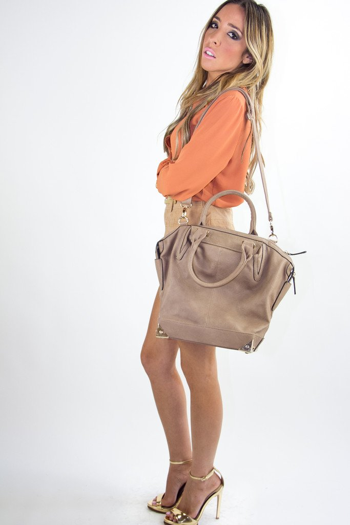 LARGE PLATED BAG - Nude