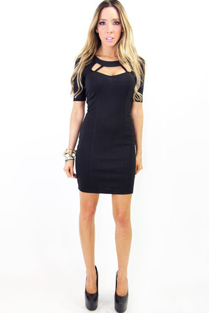 NOEMI CUTOUT DRESS - Black - Haute & Rebellious