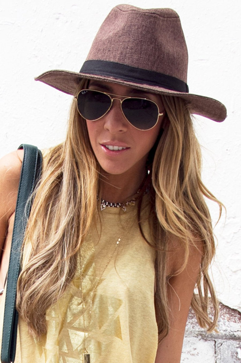 BROWN FLAT BRIM HAT (Final Sale) - Haute & Rebellious