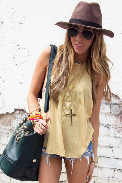 LONG ARMHOLE  TANK - Tan - Haute & Rebellious