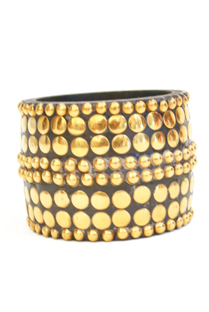 OVERSIZED STUDDED WOODEN BRACELET