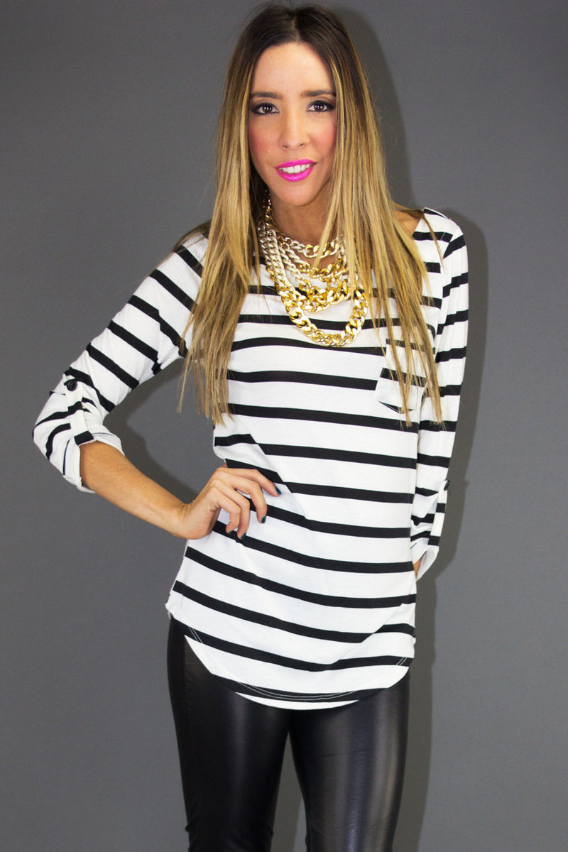 STRIPE 3/4 SLEEVE SHIRT - Black / White - Haute & Rebellious