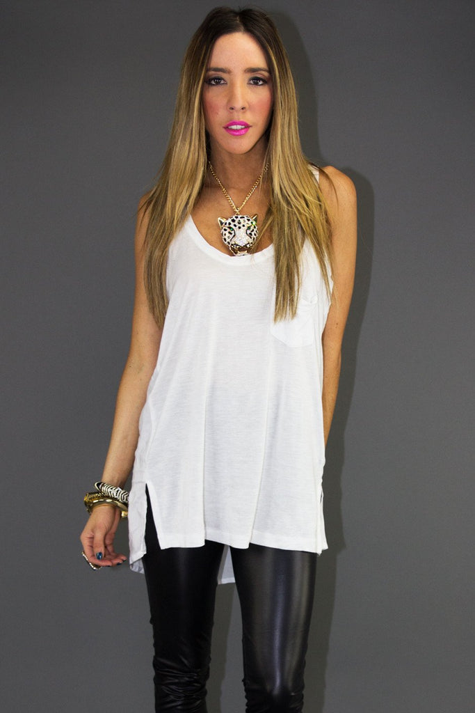 BASIC JERSEY POCKET TANK - White