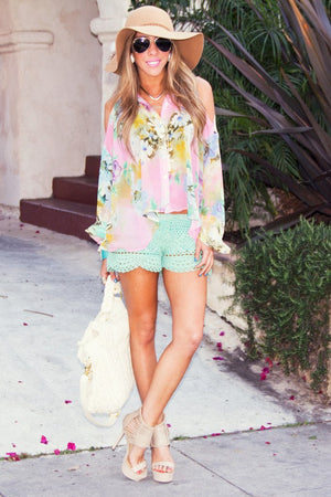 CROCHET SHORTS - Mint - Haute & Rebellious