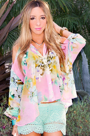 FLORAL SHOULDER CHIFFON - Haute & Rebellious
