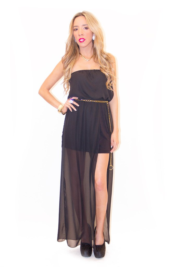 GOLD CHAIN DETAIL CHIFFON MAXI - Black
