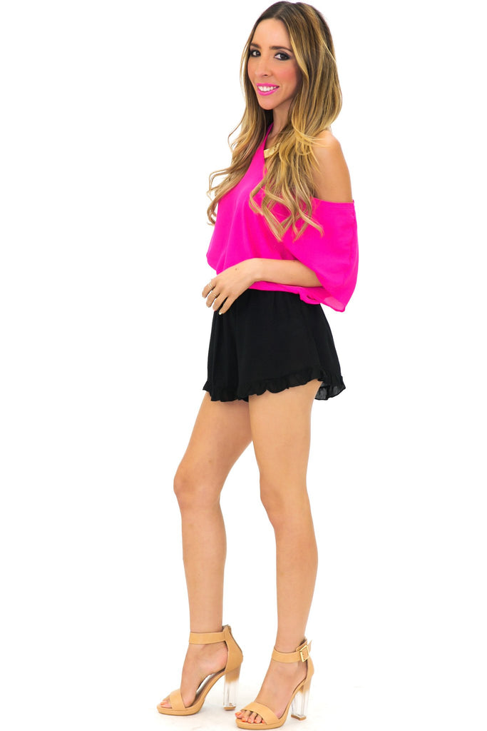 ADELLE BLOUSE - Electric Fuchsia