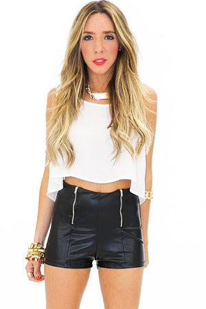 DOUBLE ZIPPER FAUX LEATHER SHORTS - Haute & Rebellious