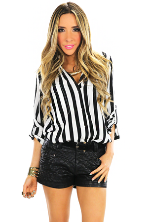 TWO POCKET STRIPE BLOUSE - Haute & Rebellious