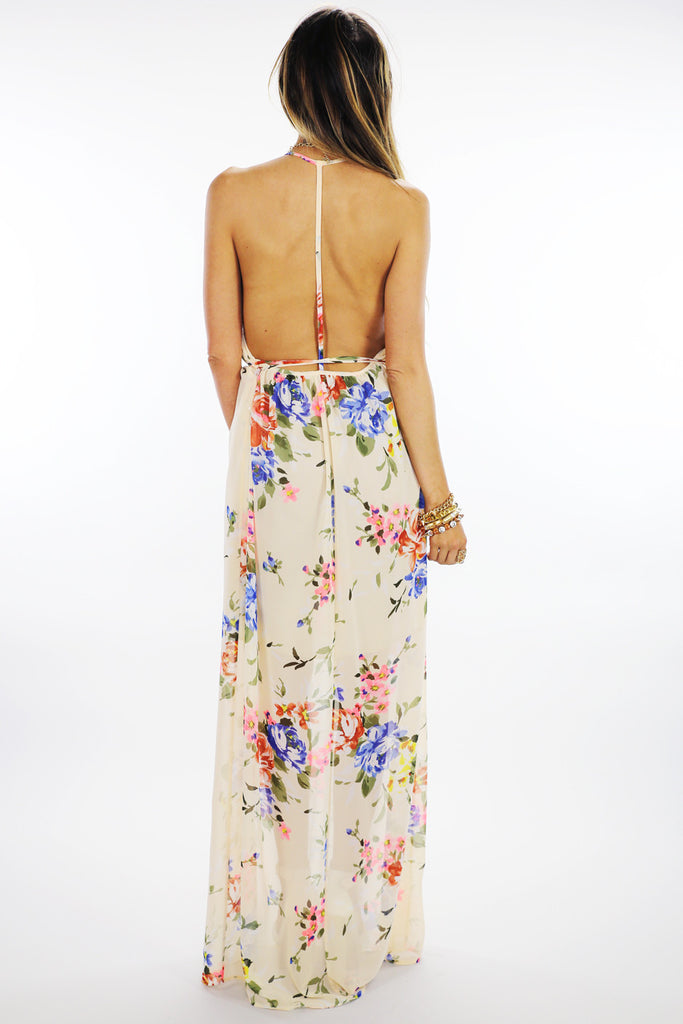 OPEN BACK FLORAL MAXI