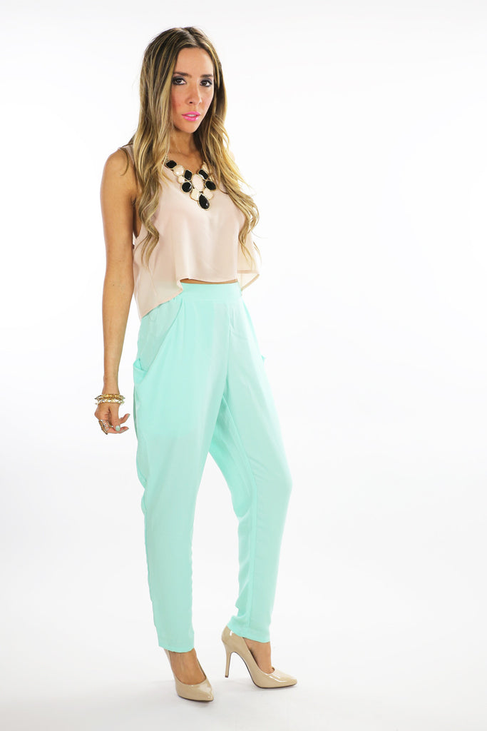 SLACKS WITH OVERSIZED POCKETS - Mint
