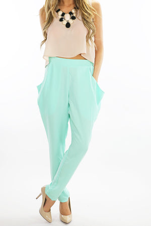 SLACKS WITH OVERSIZED POCKETS - Mint - Haute & Rebellious