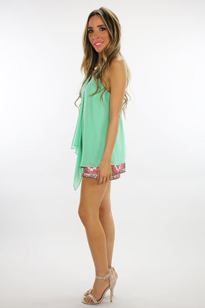 SPAGHETTI STRAP TOP WITH FRONT RUFFLE  - Mint - Haute & Rebellious
