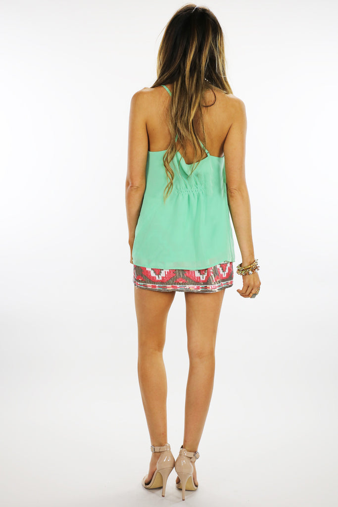 SPAGHETTI STRAP TOP WITH FRONT RUFFLE  - Mint