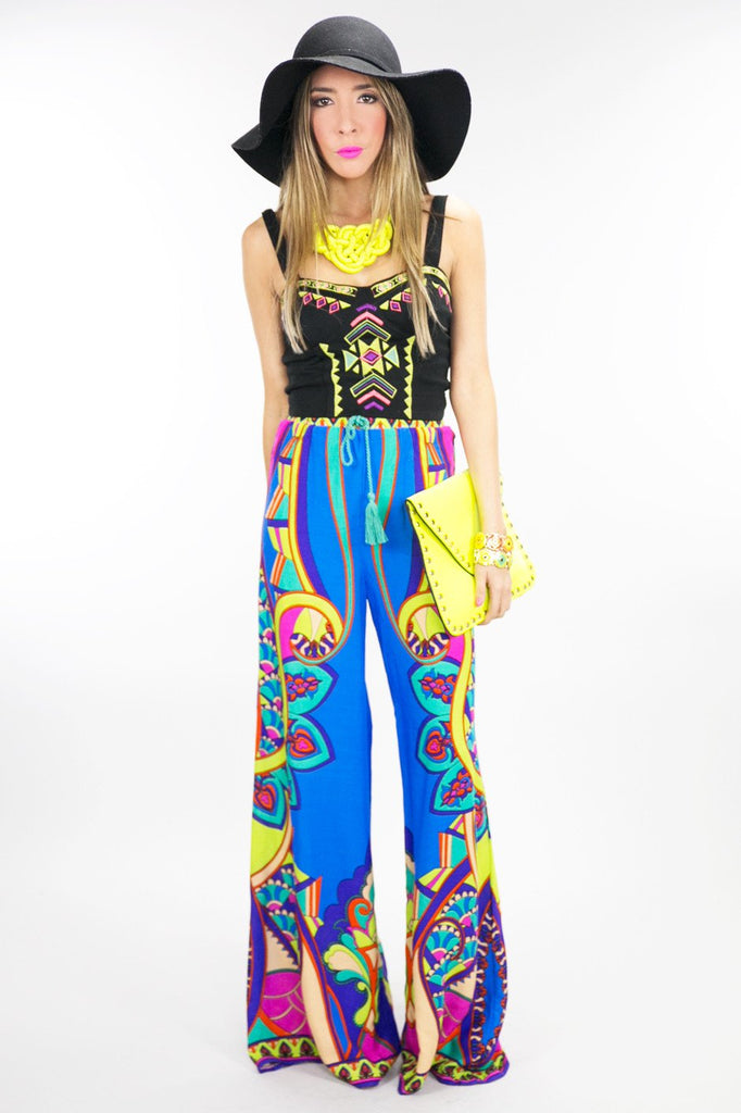 NATIVA TRIBAL PRINT PANTS - Blue