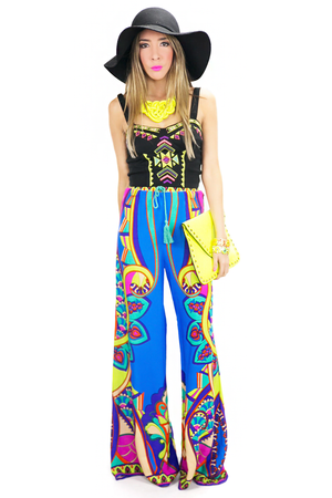 NATIVA TRIBAL PRINT PANTS - Blue - Haute & Rebellious
