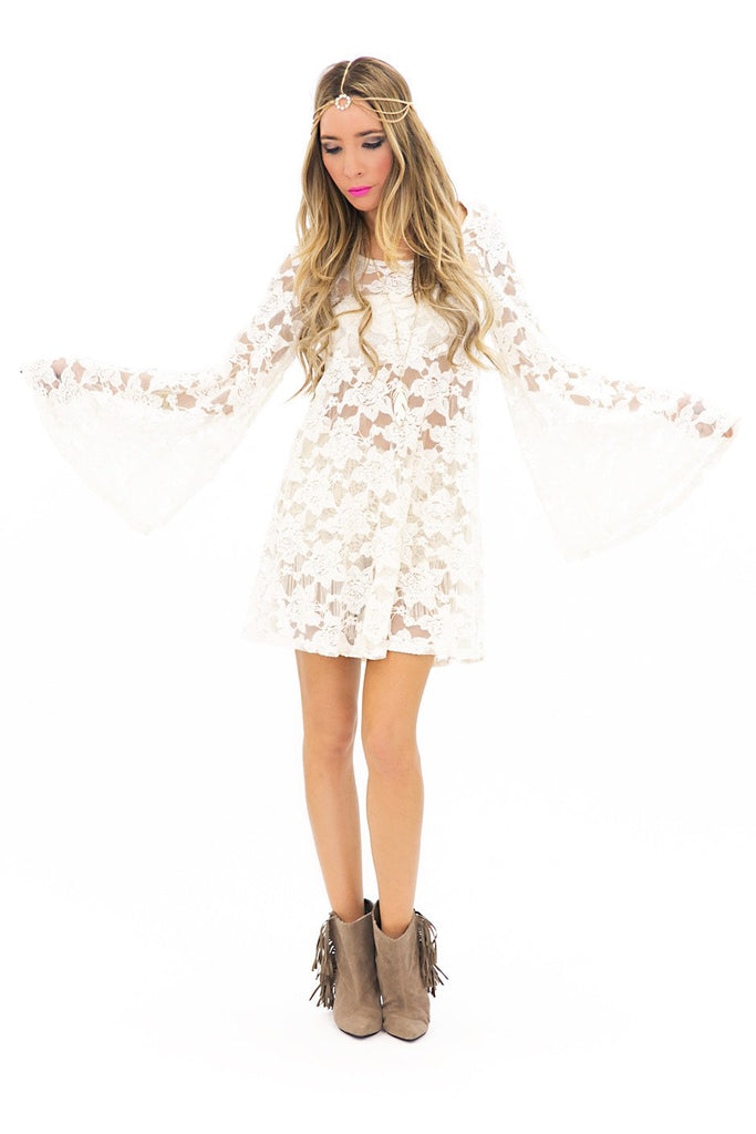 BELL SLEEVE LACE DRESS - White