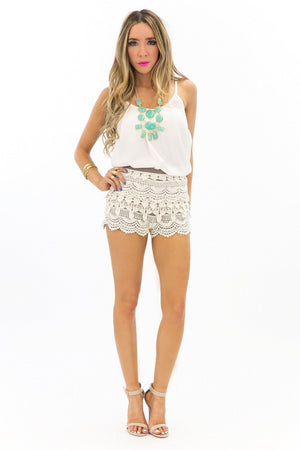 LANA LACE SHORTS - Ivory - Haute & Rebellious