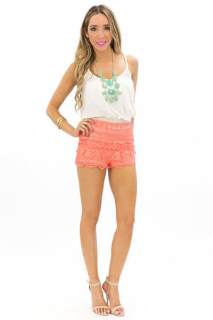 LANA LACE SHORTS - Coral - Haute & Rebellious
