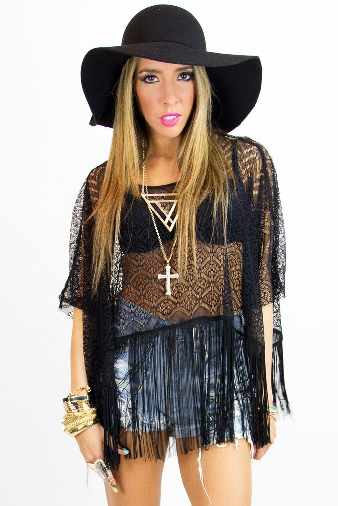 LAIN FRINGE LACE TOP