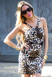 LEOPARD MESH CONTRAST DRESS (FINAL SALE)