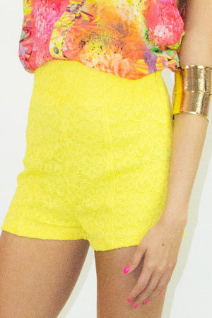 HIGH WAISTED LACE SHORTS  - Yellow (Final Sale) - Haute & Rebellious