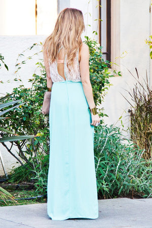 MINT LONG DRESS WITH LACE - Haute & Rebellious
