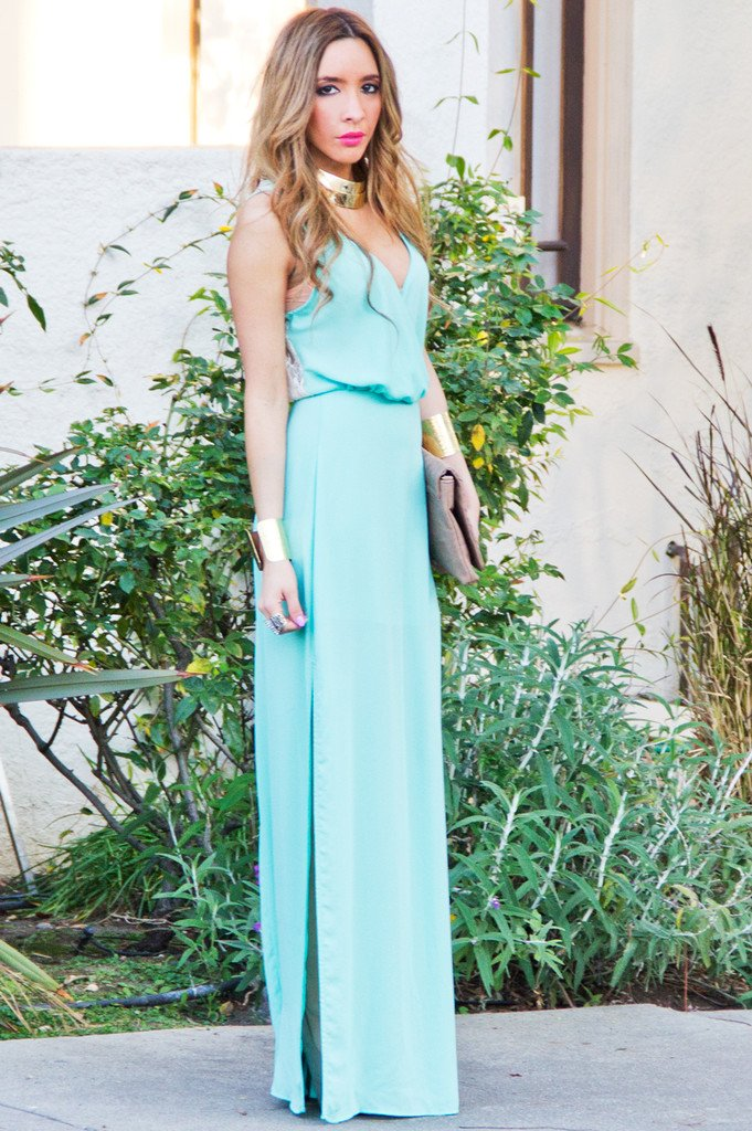 MINT LONG DRESS WITH LACE