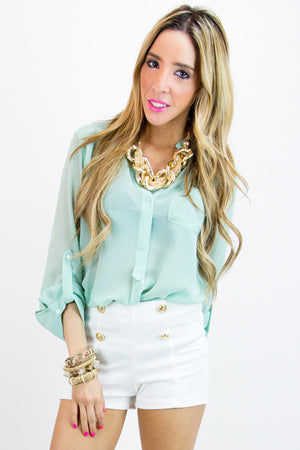 SOFT MINT CHIFFON BLOUSE - Haute & Rebellious