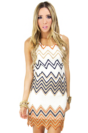 ZIG-ZAG DRESS - White/Orange/Blue - Haute & Rebellious