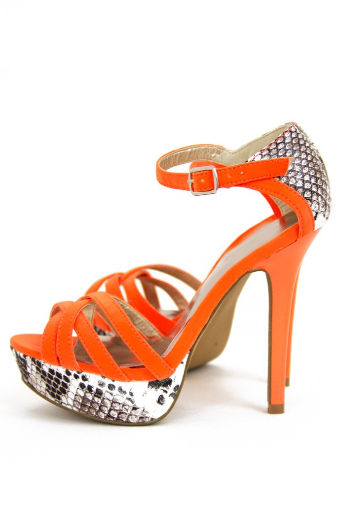 BELKA SNAKESKIN HEEL - Orange Neon