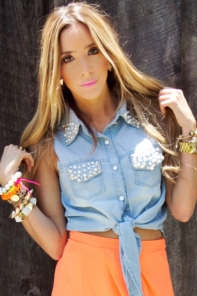 CROPPED DENIM TOP WITH PEARLS - Haute & Rebellious
