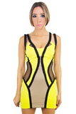 ALEXIA YELLOW GREEN NEON DRESS