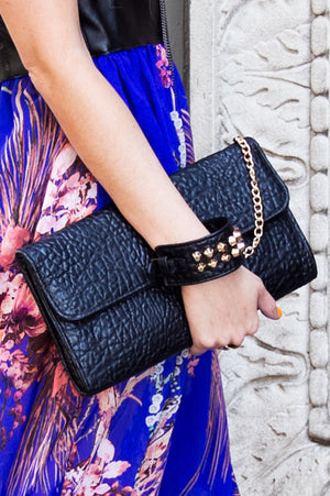 STUDDED CUFF CLUTCH - Black - Haute & Rebellious
