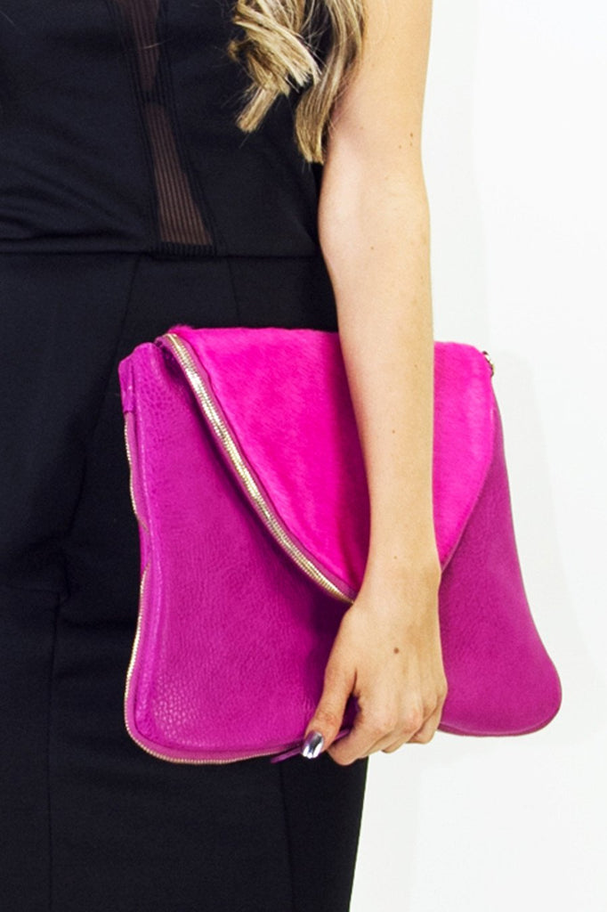 FUR FLAP CLUTCH - Deep Fuchsia - Haute & Rebellious
