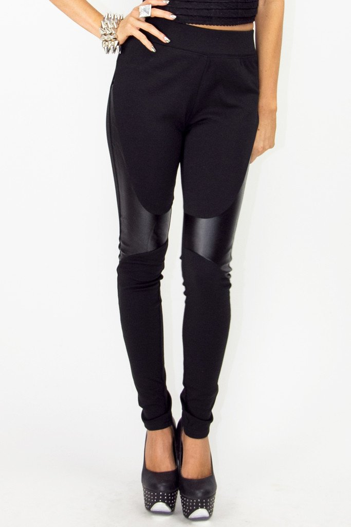 HIGH WAISTED SKINNIES WITH PATCHES - Black