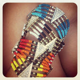 NATIVE BEADED BRACELET - orange & yellow