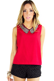 MANDARINA BLOUSE WITH EMBELISHED COLLAR - Red