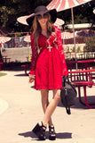 LACE CUTOUT BELL SLEEVE DRESS - Red (Final Sale)