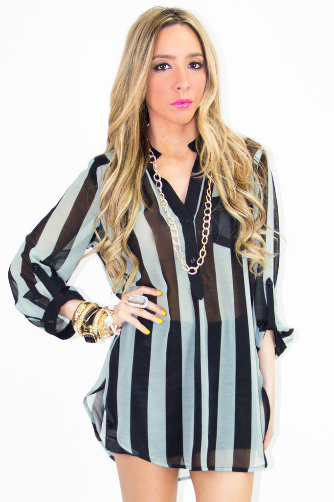 STRIPED BASIC CHIFFON DRESS SHIRT - Mint/Black
